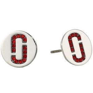 🔴 Marc Jacobs Double J Logo Red Pave Studs NWOT